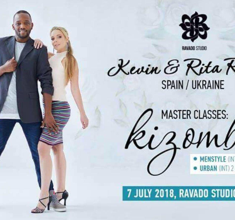 7 июля Kizomba. Мастер-классы вместе с  Kevin & Rita в Ravado studio